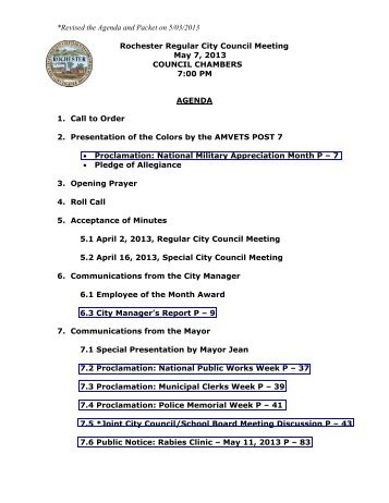 *Revised the Agenda and Packet on 5/03/2013 Rochester Regular ...