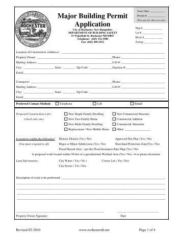Major Building Permit Application - Rochester
