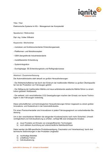 Elektronische Systeme im Kfz – Management der Komplexität - Iqnite