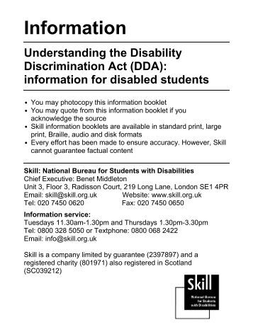 disability discrimination act essay The essay will also critically analyse uk legislation and policies in the areas of   legislation in disability until 1995 when the disability discrimination act 1995.