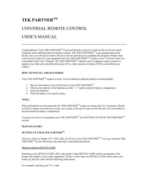 Tek Partner Universal Remote Control User's Manual - Radio Shack