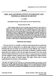 size, age and productivity of scientific and technical research groups