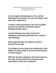 Let me begin by thanking you, Vin, and the Municipal Arts Society ...