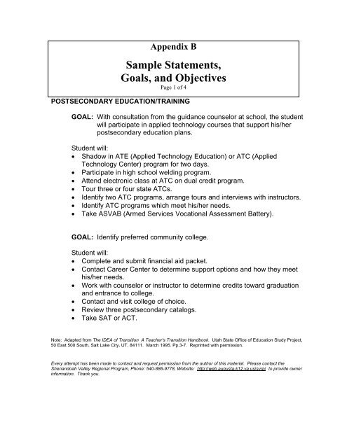 Sample Statements Goals And Objectives Rockingham County