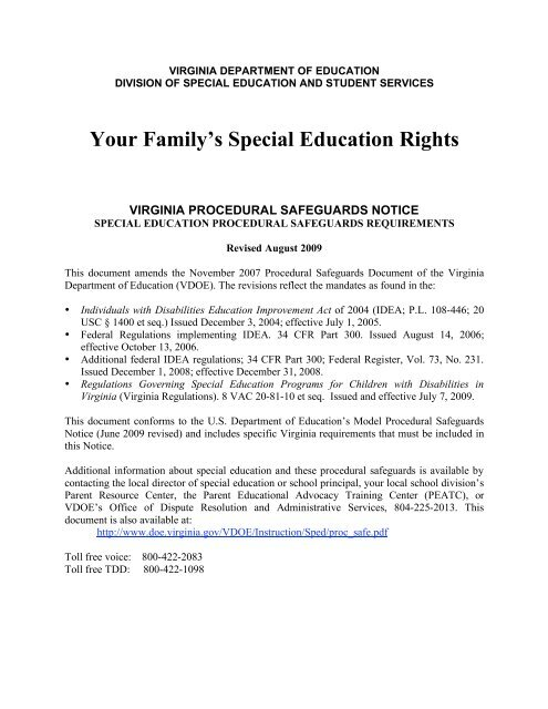 Special Education Procedural Safeguards >> Rcps Procedural Safeguards Notice Rockingham County Public