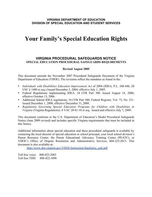 Procedural Safeguards Series Part Iv >> Rcps Procedural Safeguards Notice Rockingham County Public