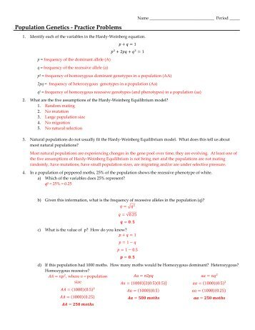 Pre-AP Biology Genetics Practice Problems - class with Mrs. Robson ...