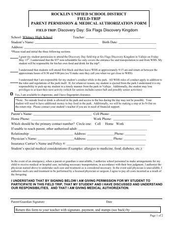 field trip permission slip rocklin unified school district