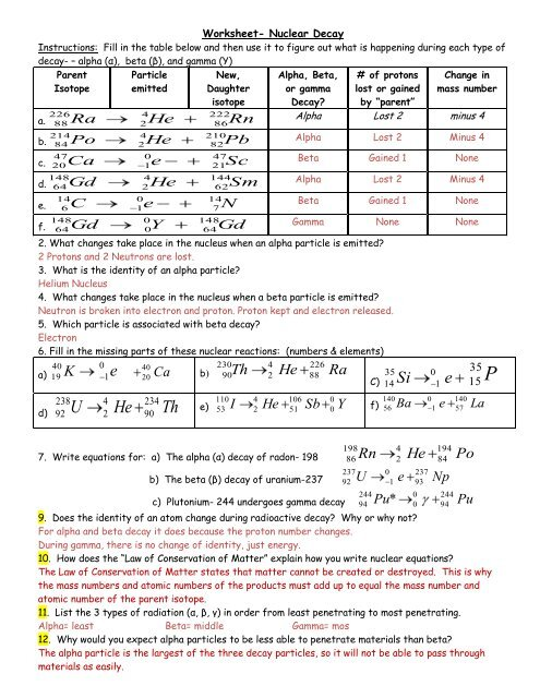 Isotopes Worksheet 1 Answer Key - kidsworksheetfun