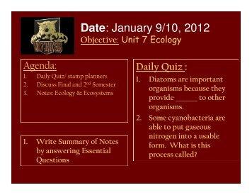 Daily Quiz/Agenda #1