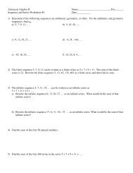 Sequence and Series Worksheet #2 Date:______ 1) Determine i