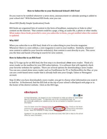 How to use Rockwood RSS Feeds - Rockwood School District