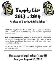 Supply List - Rockwood School District