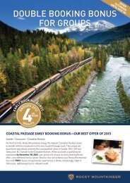 DOUBLE BOOKING BONUS FOR GROUPS - Rocky Mountaineer