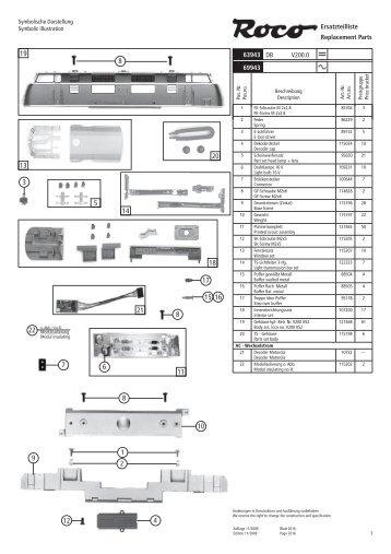 Ersatzteilliste Replacement Parts 63943 69943 DB V200.0 -
