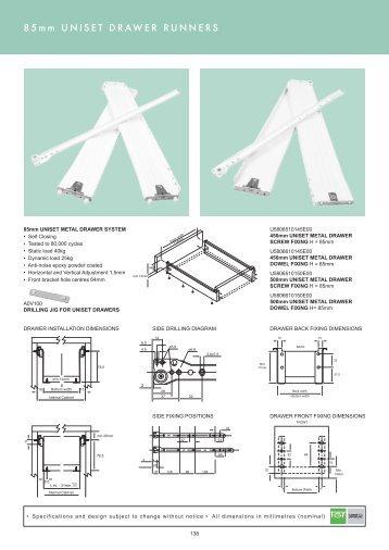 UNISET DRAWER RUNNERS 85mm/150mm PG138-139 - Roco