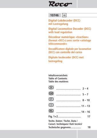 Digital-Lokdecoder (DCC) Digital Locomotive Decoder (DCC ... - Roco