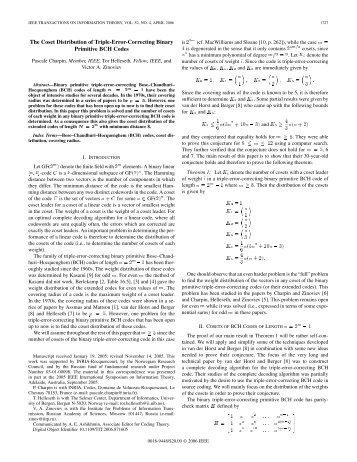 The Coset Distribution of Triple-Error-Correcting ... - IEEE Xplore