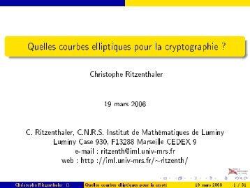 Quelles courbes elliptiques pour la cryptographie ? - Institut de ...