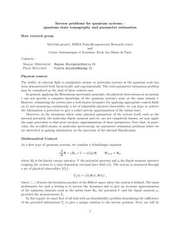 quantum state tomography and parameter estimation - Inria