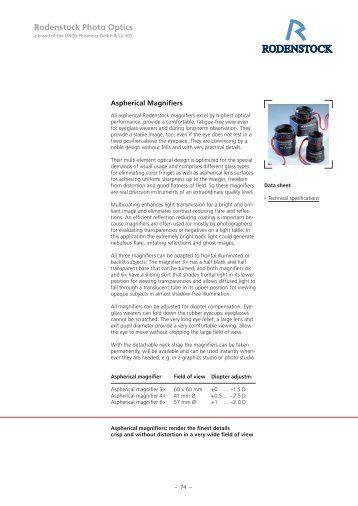 Aspherical Magnifiers - Rodenstock