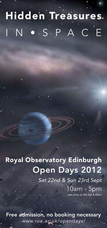 Open Days Flyer 2012 - The Royal Observatory, Edinburgh