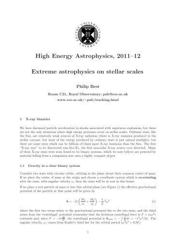 High Energy Astrophysics, 2011–12 Extreme astrophysics on stellar ...