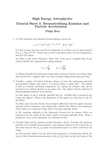 High Energy Astrophysics Tutorial Sheet 3: Bremsstrahlung ...