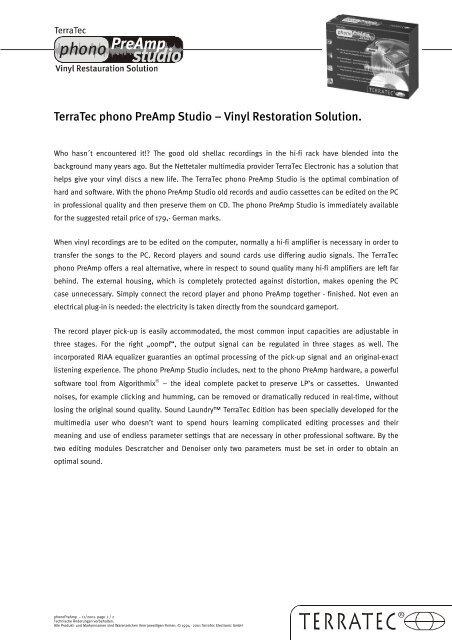 TerraTec phono PreAmp Studio – Vinyl Restoration Solution