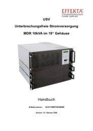 USV Unterbrechungsfreie Stromversorgung MDR 10kVA im ... - Effekta