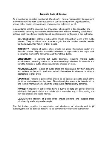 Code of conduct 04 08 english template for translation arabic 1 template code of conduct local government association wajeb Gallery