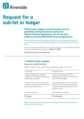 A guide to lodger request for a sublet or lodger form riverside platinumwayz
