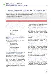 SÉANCE DU CONSEIL COMMUNAL DU 29 JUILLET 2005 - Roeser