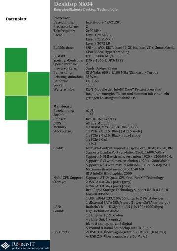 Desktop NX04 Datenblatt