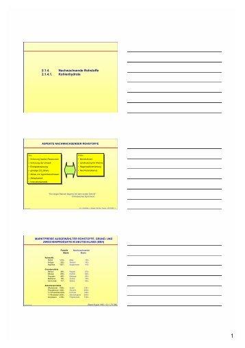 Handzettel der Folien - Technische Chemie 2 Rößner