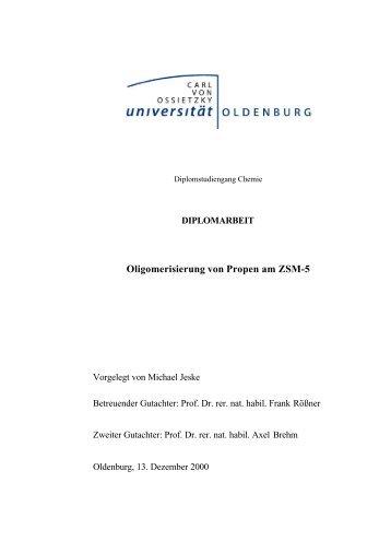 Oligomerisierung von Propen am ZSM-5 - Technische Chemie 2 ...