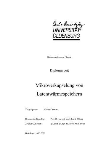 Mikroverkapselung von Latentwärmespeichern - Technische ...