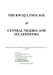Kwanka wordlist - Roger Blench