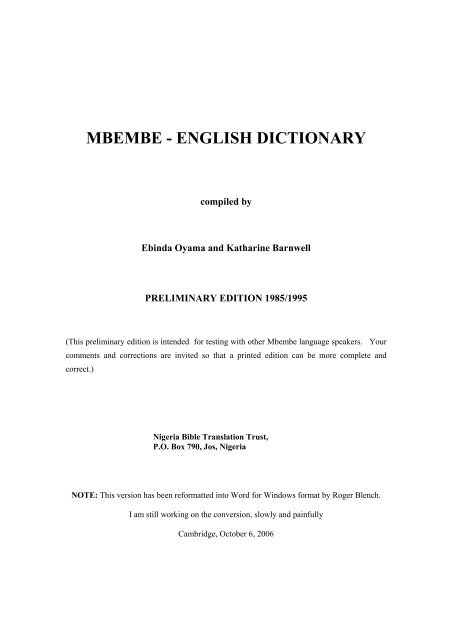 MBEMBE - ENGLISH DICTIONARY - Roger Blench