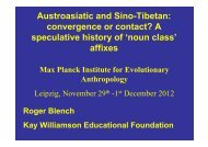 Austroasiatic and Sino-Tibetan: convergence or ... - Roger Blench