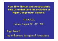 Can Sino-Tibetan and Austroasiatic help us ... - Roger Blench