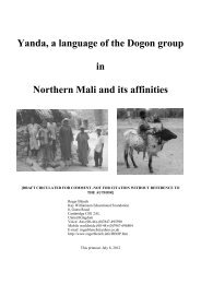 Yanda, a language of the Dogon group in Northern ... - Roger Blench