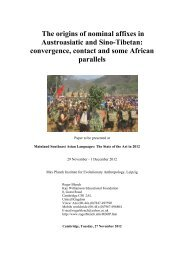 The origins of nominal affixes in Austroasiatic and ... - Roger Blench
