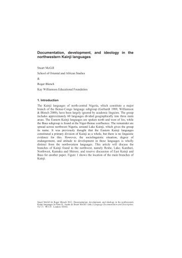 Documentation, development, and ideology in the ... - Roger Blench