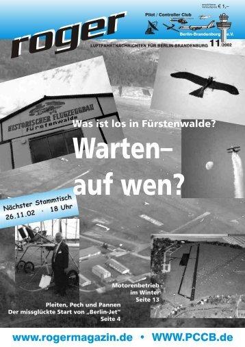 auf wen? - Roger - Luftfahrtnachrichten für Berlin und Brandenburg