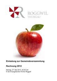 Rechnung 2012 - Gemeinde Roggwil