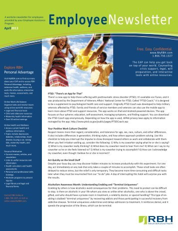 April 2013 Employee Newsletter - RBH
