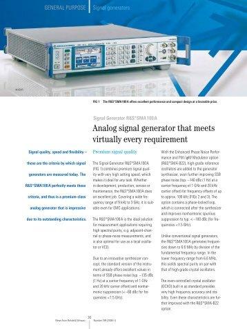 Analog signal generator that meets virtually ... - Rohde & Schwarz