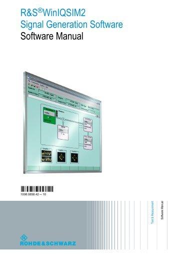 R&S WinIQSIM2 Software Manual - Rohde & Schwarz