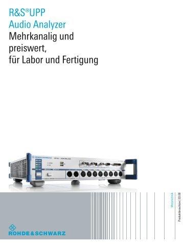 for R&S®UPP Audio Analyzer - Rohde & Schwarz